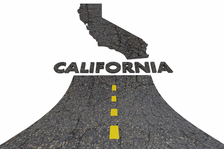 sign: California CA Road Map Word Travel Tourism Destination 3d Illustration Stock Photo