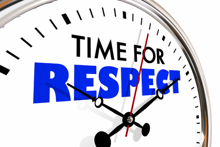 Time for Respect Honor Deference Clock Hands Ticking 3d Illustration Stock Photo