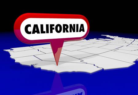 California CA State Map Pin Location Destination 3d Illustration