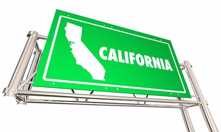 カリフォルニア カリフォルニア州高速道路道路標識道路経済発展 3 d イラストレーション
