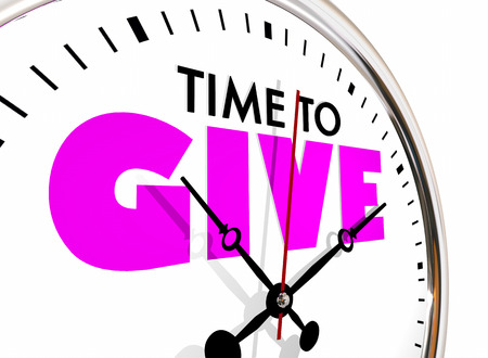 Time to Give Share Donate Giving Donation Clock Hands Ticking 3d Illustration