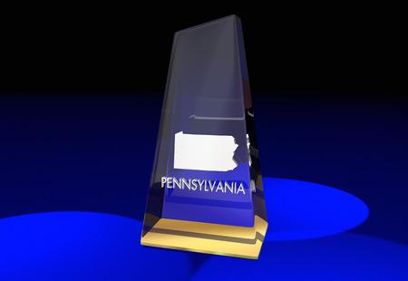 Pennsylvania PA State Award Best Top Prize 3d Illustration Stock Photo