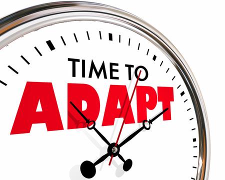 変化に適応する時間進化 3 d イラストレーションを刻 々 と過ぎ時計の針