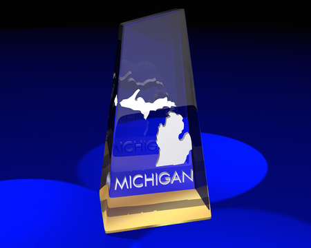 word: Michigan MI State Award Best Top Prize 3d Illustration Stock Photo