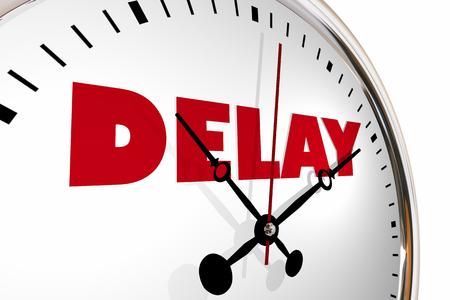 Delay Running Late Behind Schedule Clock Hands Ticking 3d Illustration