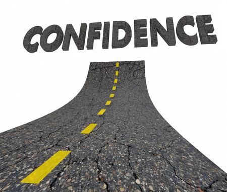 自信を持って道路単語自信を持って 3 d イラスト 写真素材