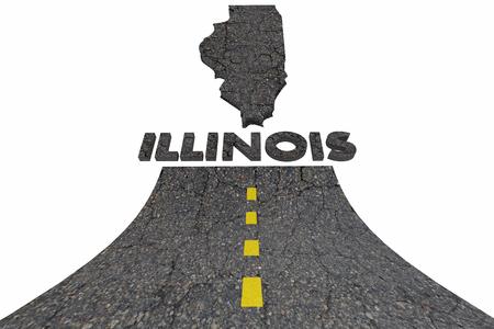 better: Illinois IL Road Map Word Travel Tourism Destination 3d Illustration
