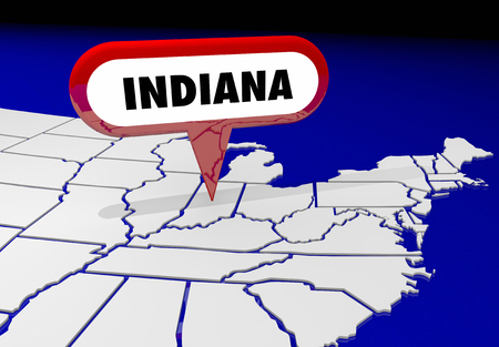 spot: Indiana IN State Map Pin Location Destination 3d Illustration