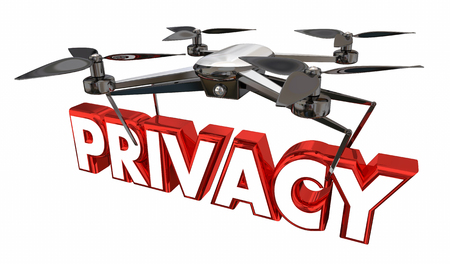 Privacy Intrusion Security Violated Drone Flying Carrying Word 3d Illustration