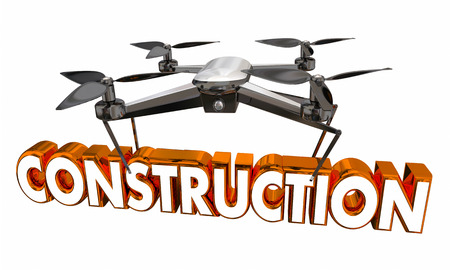 Construction Ahead Monitoring Drone Flying Carrying Word 3d Illustration Reklamní fotografie