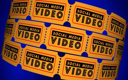 소셜 미디어 비디오 영화 게시물 시청자 티켓 3D 일러스트 레이션 스톡 콘텐츠