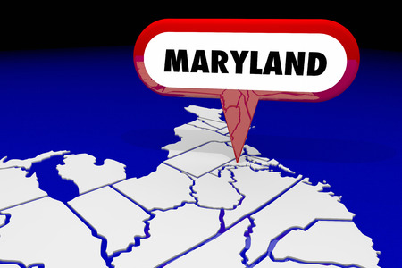 map pin: Maryland MD State Map Pin Location Destination 3d Illustration