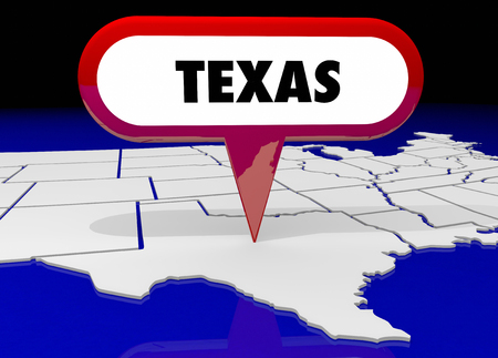 map pin: Texas TX State Map Pin Location Destination 3d Illustration