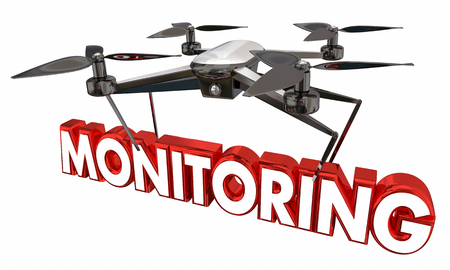 Monitoring Watching You Drone Flying Carrying Word 3d Illustration