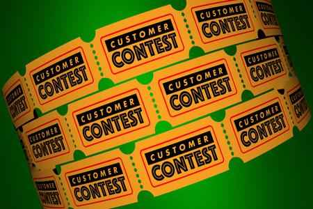 고객 컨테스트 클라이언트 특별 행사 티켓 3d 일러스트 스톡 콘텐츠