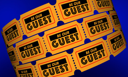 be: Be Our Guest Event Party Theatre Invitation Tickets 3d Illustration