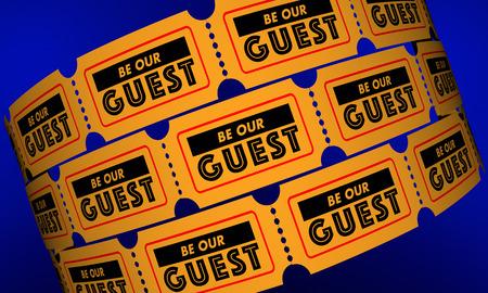 Wees onze gast evenement partij theater uitnodiging kaartjes 3d illustratie