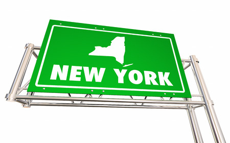 New York NY Freeway Road Sign Highway Economic Development 3d Illustration