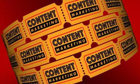콘텐츠 마케팅 VIdeo 영화 티켓 3D 일러스트 레이션 스톡 콘텐츠