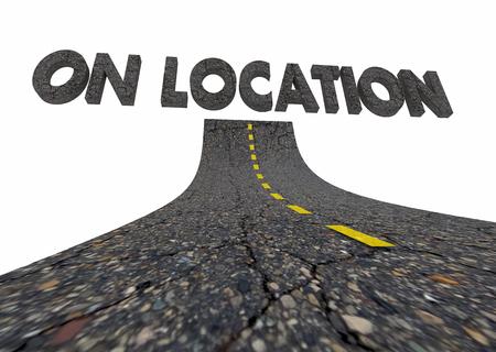 場所のリモート サイト作業道言葉 3 d イラストレーション
