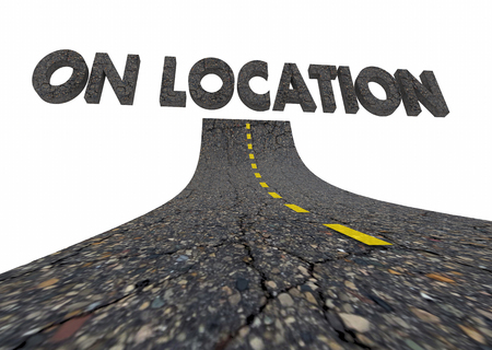 On Location Remote Site Working Road Words 3d Illustration Stok Fotoğraf
