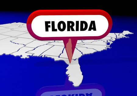 フロリダ フロリダ州マップ ピン位置先 3 d イラストレーション