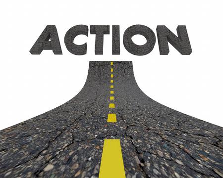 アクションをアクティブな計画道路単語 3 d イラストレーション