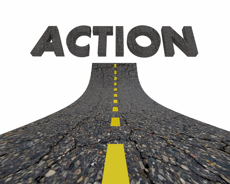 Action Take Active Plan Road Word 3d Illustration Stok Fotoğraf