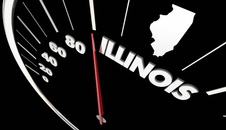 Illinois IL State Speedometer Destination Best Location 3d Illustration