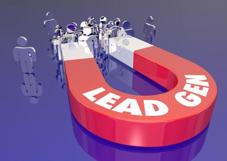 Lead Generation Marketing Magnet Aantrekkelijke klanten publiek mensen 3d illustratie