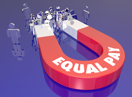 Equal Pay Work Equity Magnet Attracting Customers Audience People 3d Illustration