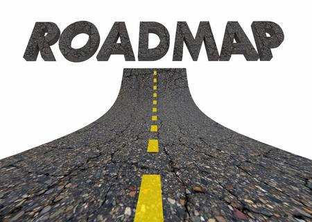 道路地図旅行目標ルート先言葉 3 d イラストレーション