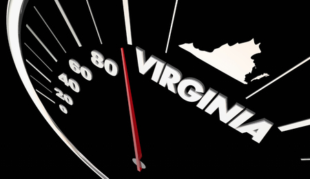 3d virginia: Virginia VA State Speedometer Destination Best Location 3d Illustration