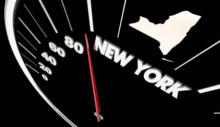 New York NY State Speedometer Destination Best Location 3d Illustration Stock Photo