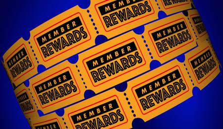 회원 보상은 클럽에 가입하십시오 무료 프리미엄 티켓 얻기 3D 일러스트 스톡 콘텐츠
