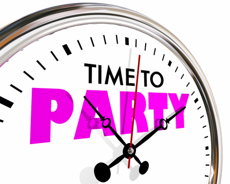 seconds: Time to Party Celebrate Event Clock Hands Ticking 3d Illustration