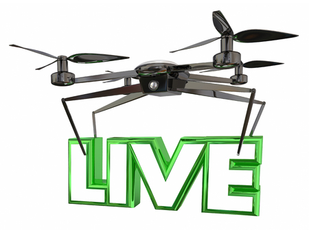 exciting: Live Coverage Video Footage Drone Flying Carrying Word 3d Illustration