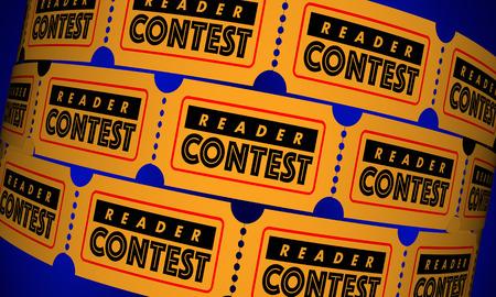 리더 경연 대회 관객 웹 온라인 티켓 3D 일러스트 레이션