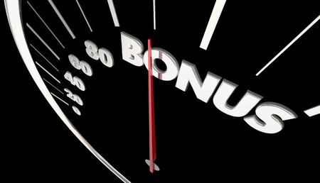 accelerating: Bonus Extra Benefit Speedometer Measure Results 3d Illustration