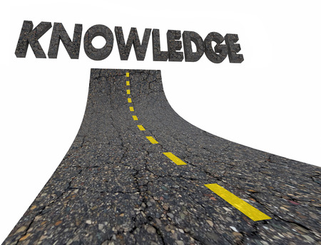 Knwoledge Intelligence Road Words 3d Illustration Stok Fotoğraf