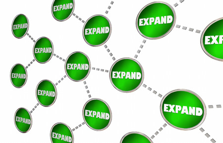 shared sharing: Expand Business Growth Connected Circle Network 3d Illustration