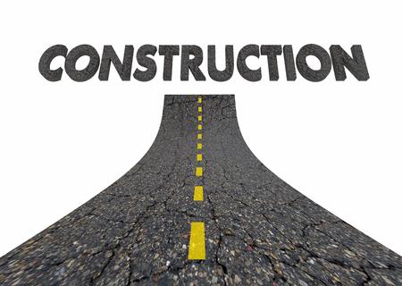 計画道路工事単語 3 d イラストレーション