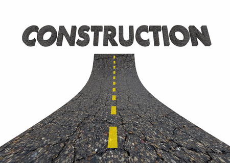 Construction Project Road Work Word 3d Illustration
