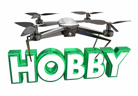Hobby Recreation Fun Drone Flying Carrying Word 3d Illustration
