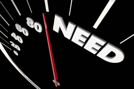 Need Customer Demand Speedometer Measure Results 3d Illustration 版權商用圖片