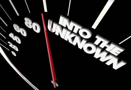 new: Into the Unknown Uncertain Future Speedometer Measure Results 3d Illustration Stock Photo