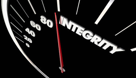 accelerating: Integrity Good Reputation Speedometer Measure Results 3d Illustration
