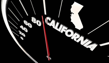 California CA State Speedometer Destination Best Location 3d Illustration