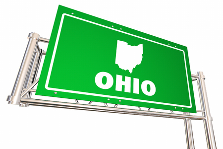 Ohio OH Freeway Road Sign Highway Economic Development 3d Illustration