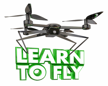 Learn to Fly School Lesson Drone Flying Carrying Words 3d Illustration